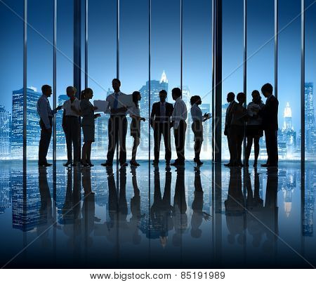 Business People Silhouette Company Working Teamwork Office Concept