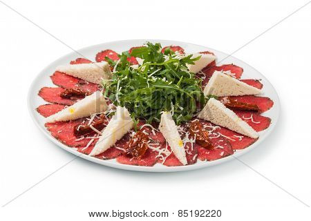 Beef Carpaccio with shaved parmesan cheese