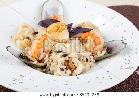 Risotto, rice with seafood, food closeup