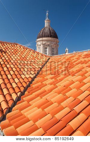 Rooftops and Cathedral of the Assumption of the Virgin Mary tower in Dubrovnik, Croatia.