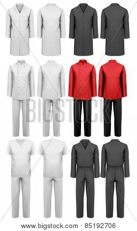 Set of various work clothes.