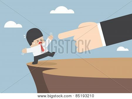 Giant Hands Push Businessman And Make Him Fall From Cliff