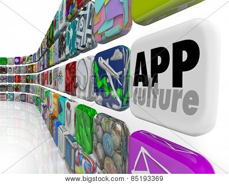 App Culture words on a tile in software application program tiles to illustrate addiction to downloading mobile games and utilities to your device