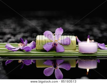 Single orchid with long leaf and soap,candle,orchid on wet background
