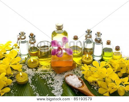 Spa set on banana leaf with many massage oil