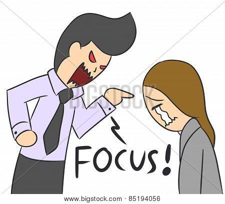 cartoon woman boss yell focus