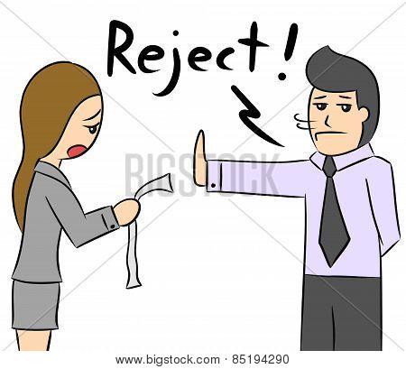 cartoon woman boss reject