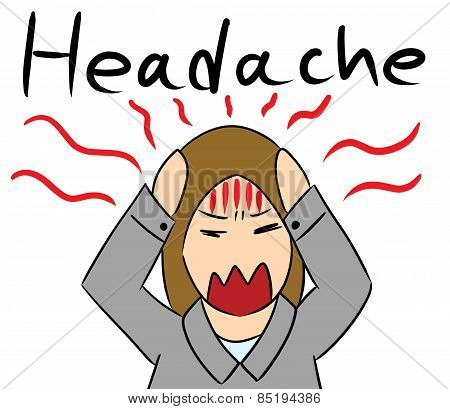 cartoon woman headache stress