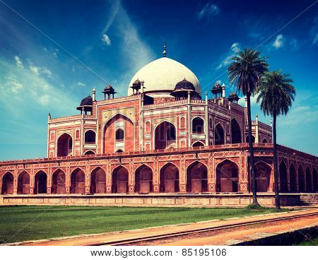 Vintage retro effect filtered hipster style image of Delhi famous indian landmark Humayun's Tomb. Delhi, India