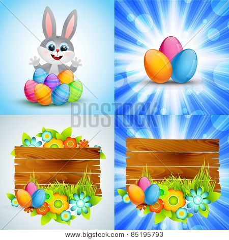 vector colorful set of easter background with colorful egg , flower and bunny cartoon