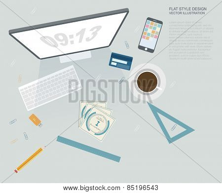 Flat Style Modern Design Concept of Creative Office Workspace. Icons Collection of Business Work Flow Items and Elements, Office Things, Objects and Equipment for Workplace Design.