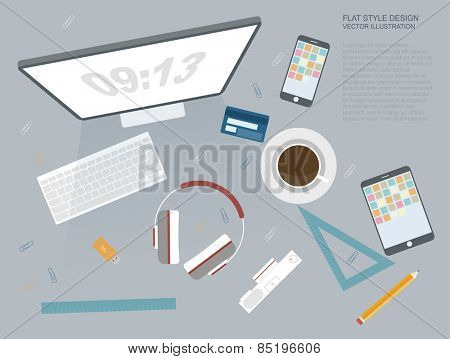 working place of creative team in flat design top view