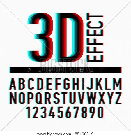 3D effect alphabet and numbers. Vector.