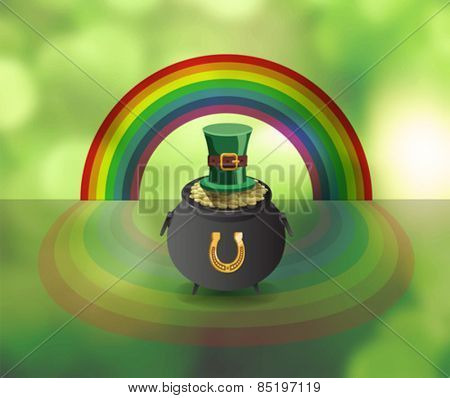 Digitally generated St patricks day vector with pot of gold and rainbow
