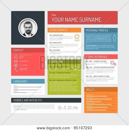 Vector minimalist cv / resume template dashboard profile