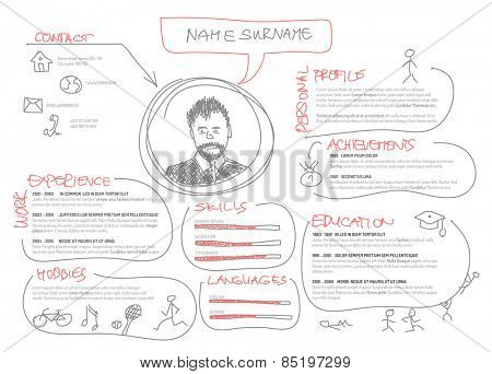 Vector original minimalist cv / resume template - creative doodle version