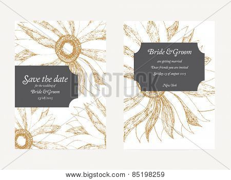 Save The Date Wedding Invitation Card with floral ornament
