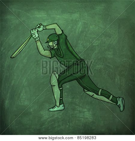 Young batsman in playing action on green chalkboard background.