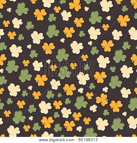 Happy St. Patrick's Day celebration seamless pattern with Irish lucky shamrock leaves.