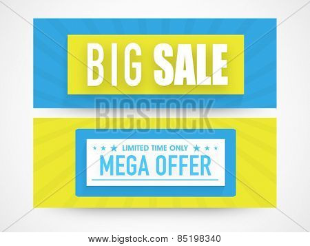 Big Sale website header or banner set with mega discount offer for limited time.