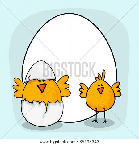 Happy Easter celebration with cute chicks, cracked egg and blank frame for your wishes.