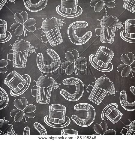 Creative seamless pattern on chalkboard for Happy St. Patrick's Day celebration.