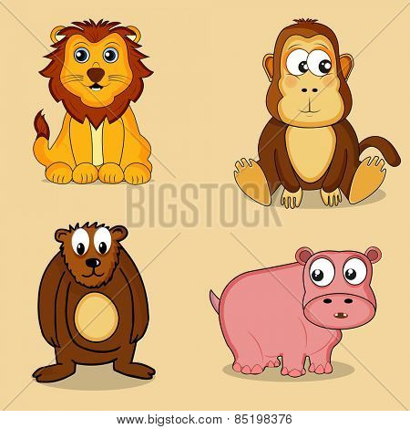 Set of cute cartoon character of wild animals including Lion, Monkey, Hippopotamus and Bear.