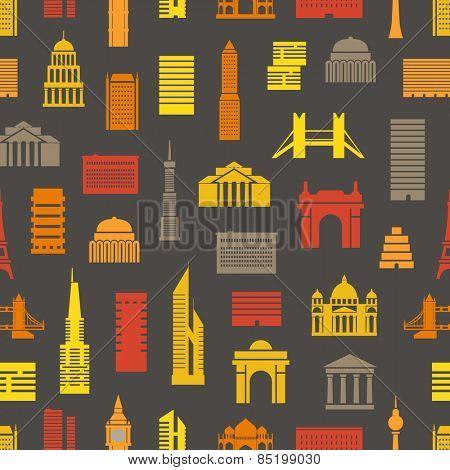 Modern city silhouettes seamless pattern
