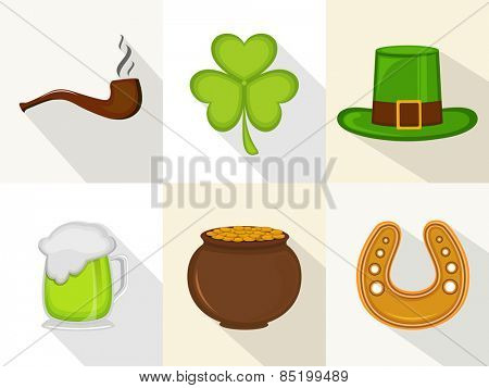 Happy St. Patrick's Day celebration ornaments with smoking pipe, clover leaf, leprechauns hat, beer, earthenware and horseshoe.