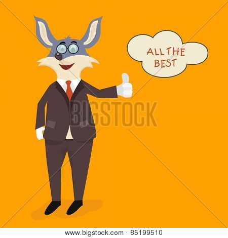 Cute cartoon of rabbit in suit wishing All The Best on orange background for Cricket sports concept.