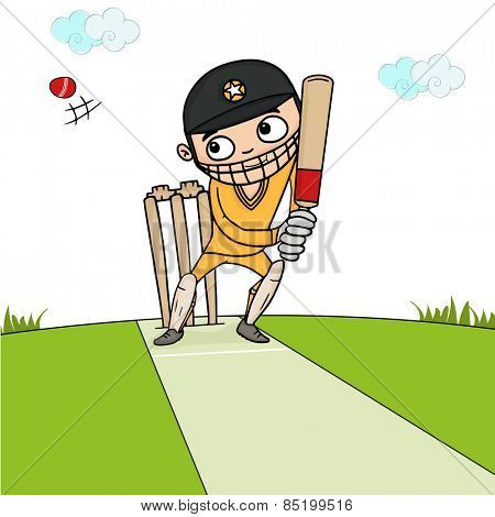 Cartoon of a batsman ready to hit the shot in playground for Cricket sports concept.