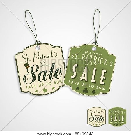 Big sale tag or label design with discount offer on grey background for Happy St. Patrick's Day celebration.