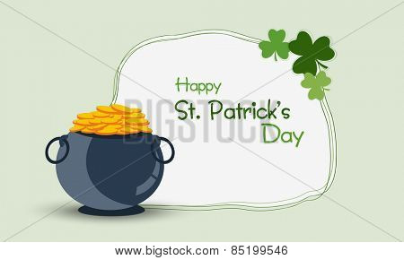 Happy St. Patrick's Day celebration with gold coins earthenware and clover leaves on green background.