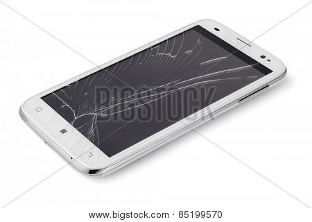 Broken Display Screen Smart phone On White Background