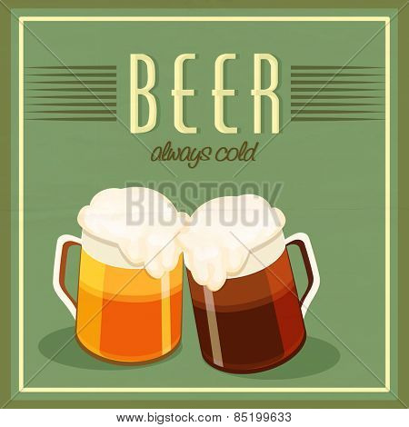 Vintage poster or banner design with beer mugs on green background for Happy St. Patricks's Day celebration.