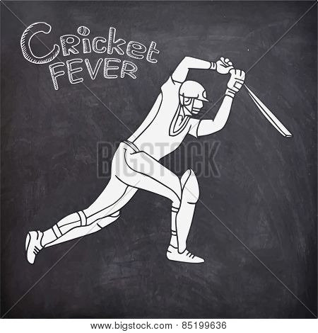 Young batsman in playing action on chalkboard background for Cricket Fever.