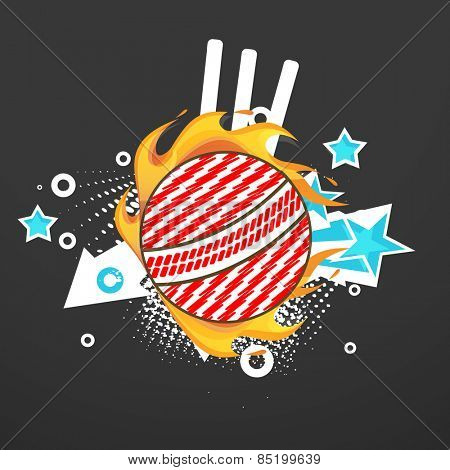 Stylish red and white ball in fire with wicket stumps for Cricket sports concept.