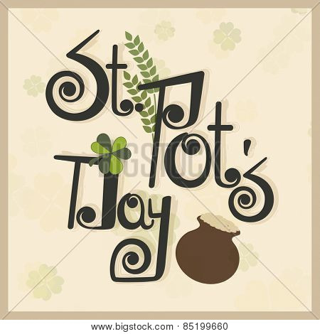 Vintage greeting card with shamrock and mud pot for Happy St. Patrick's Day celebration.