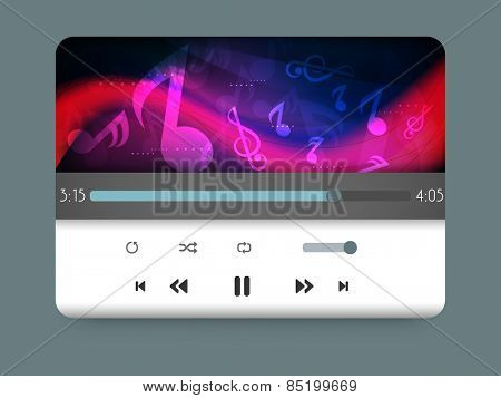 Media player with colorful musical notes and waves.