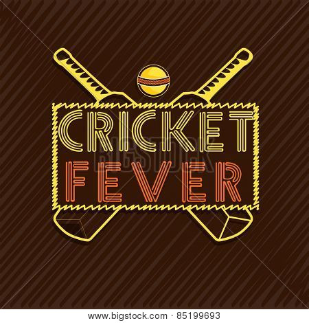 Stylish text Cricket Fever with bats and ball on brown background, can be used as poster or banner design.