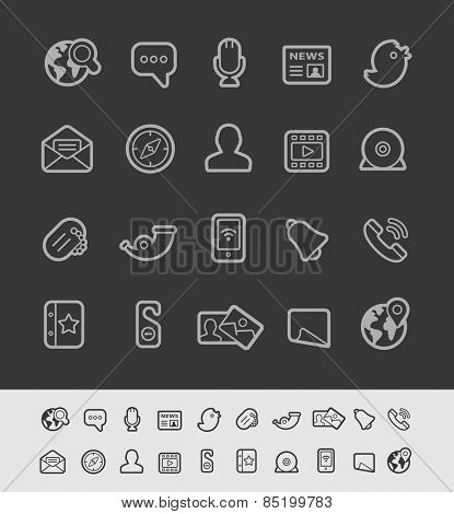 Social Communications Icons // Black Line Series -- EPS 10+ Contain Transparencies