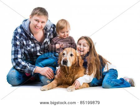 happy smiling familiy - Dad and two daughters  with a big dog  isolated on white background