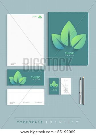 Ecological corporate identity kit in green and white combinations includes Letterhead, File Folder, Envelopes and Visiting Cards.
