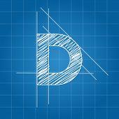 image of letter d  - D letter architectural plan on blue print background - JPG