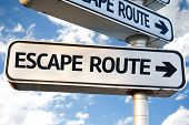 stock photo of disaster preparedness  - Escape Route direction sign on sky background - JPG