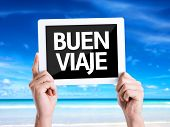 picture of bon voyage  - Tablet pc with text Have a Good Trip  - JPG