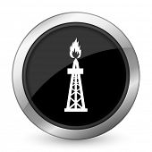 stock photo of shale  - gas black icon oil sign  - JPG