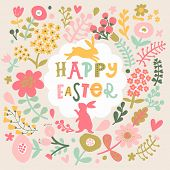 stock photo of wild-rabbit  - Awesome happy easter card in vector - JPG