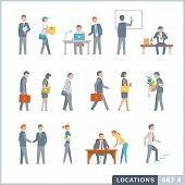 stock photo of work bench  - Flat illustrations of working people in the office and on the street - JPG
