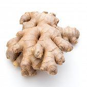 image of rhizomes  - Fresh ginger root or rhizome isolated on white background cutout - JPG